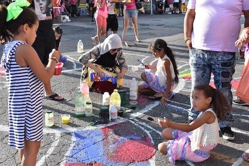 Chalk art at La Placita